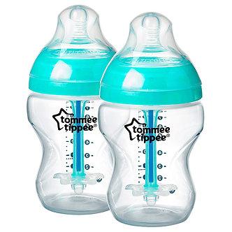 Tommee Tippee - Biberón Anticólico Avanzado Polipropileno 9oz Turquesa x2 un. 0+