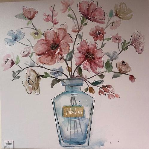 Tableau bouquet dans vase haut 60x60