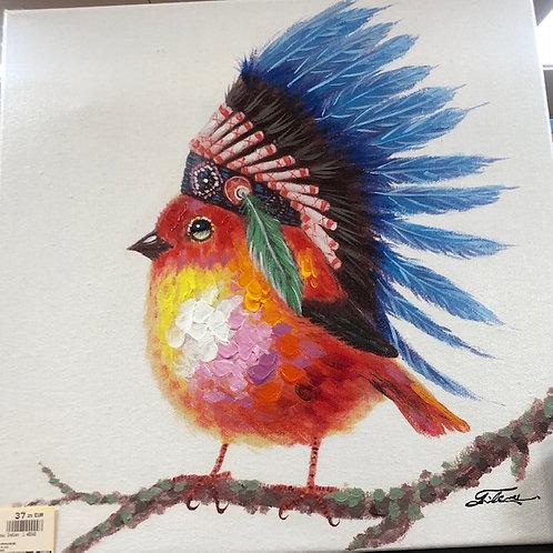 Tableau Oiseau Indien 1      40x40