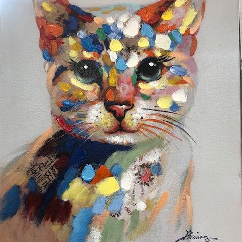 Tableau tête de chat 40x50