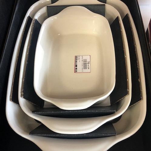 Coffret Noel 3 plats (petit, moyen et grand plat rectangulaire) farine