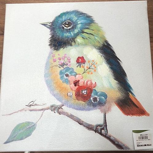 Oiseau tête bleue fleurs 40x40