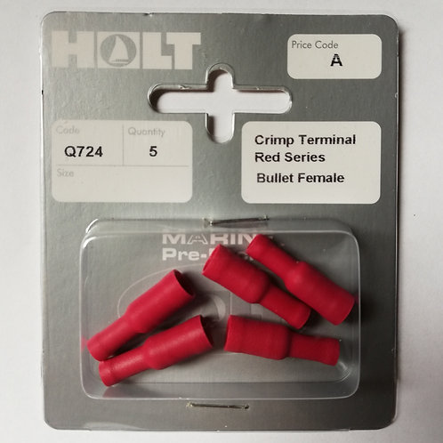 Holt 5 Pack Crimp Terminal Red Series Bullet Female