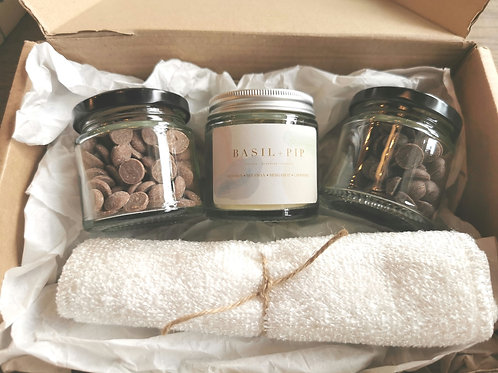Handmade Candle & Chocolate Gift Set