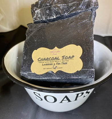 Charcoal Goat Milk Soap:  Lavender Tea Tree