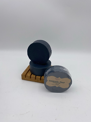 Charcoal Soap:  Unscented Round Face