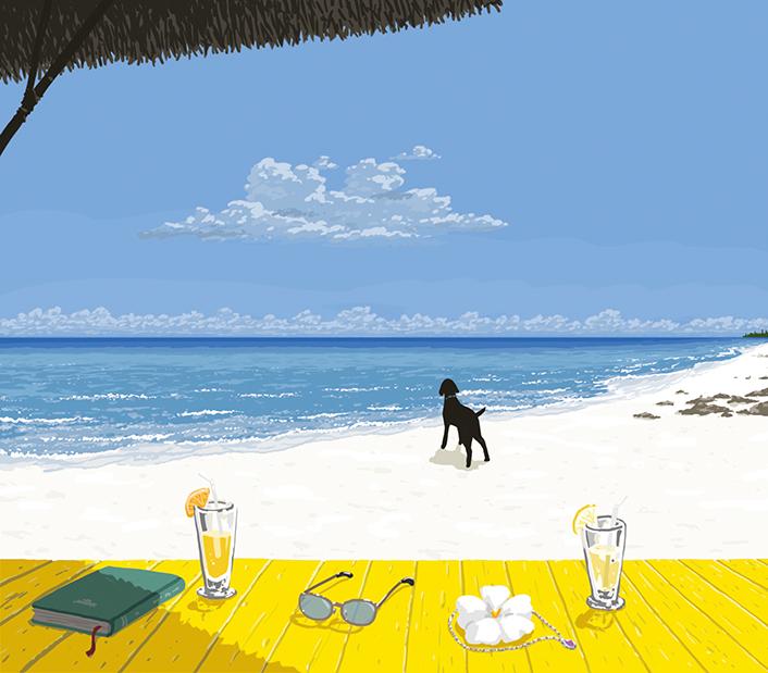 静かな白砂のビーチにて