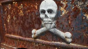 Spooky skull sculpture in Recoleta Cemetery, Buenos Aires