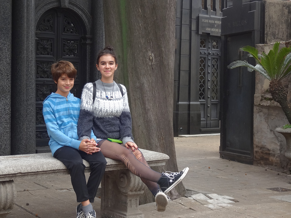 The kids hang out in Recoleta Cemetery