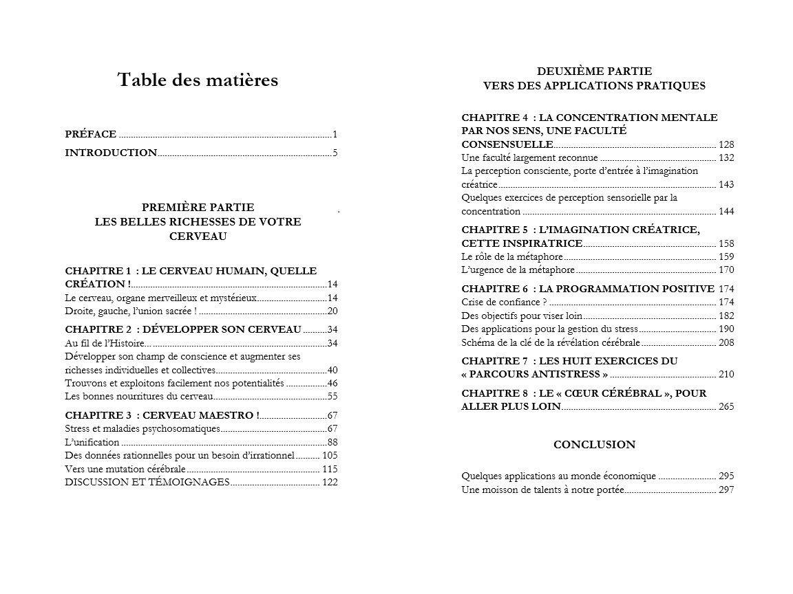 La révélation cérébrale - Table des matières