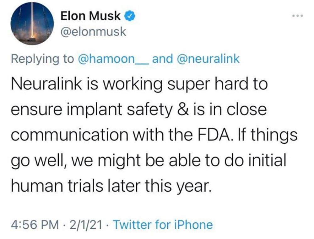 Musk tweets about Neuralink progress
