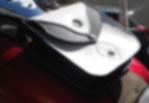 Sacoche de reservoir pour custom cuir noir et blanc boutons pression LM Sellier
