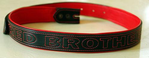 Ceinture biker motard cuir noir et rouge LM Sellier