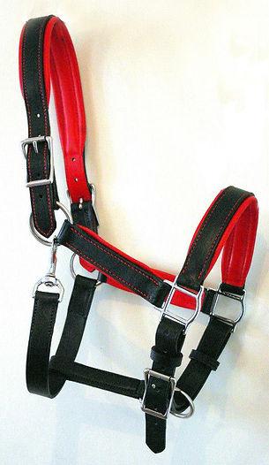 licol confort doublé noir et rouge sur mesure fabrication LM Sellier