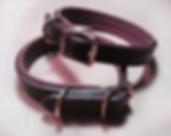 collier pour chien confort cuir existe en noir ou marron doublure colorée sur mesure fabrication LM Sellier