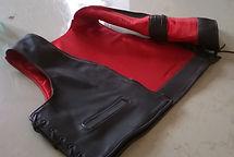 veste jaquette biker moto cuir noir doublure satin rouge LM Sellier