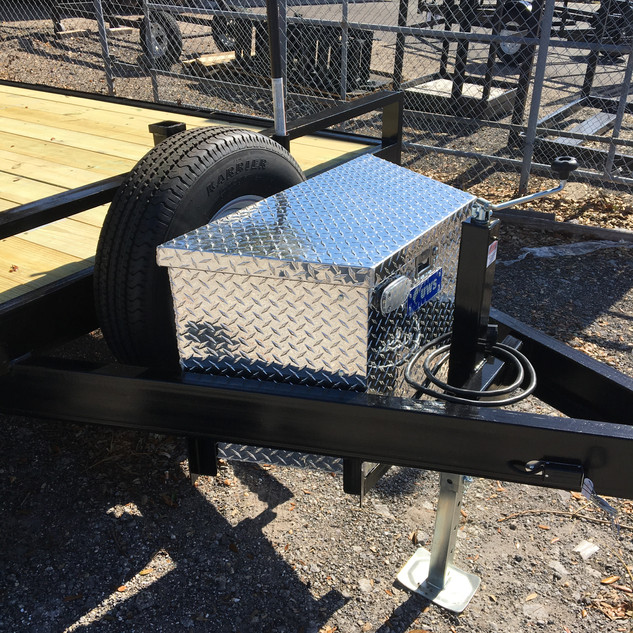 tongue box with spare tire and light