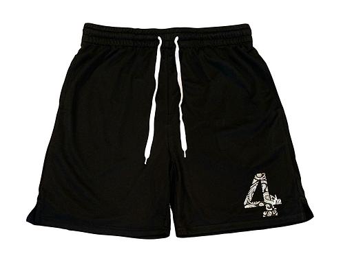 Black Paisley Athletic Shorts