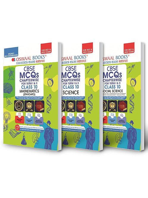 Oswaal CBSE MCQs Class 10 ( Maths, Science, Social - Set of 3 Books)