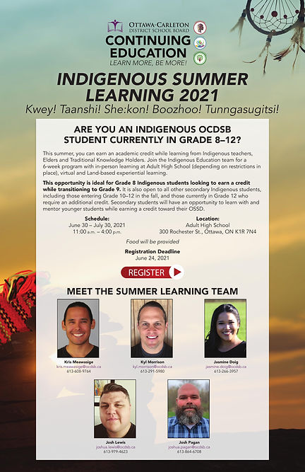 Indigenous Summer Learning 2021 Poster (