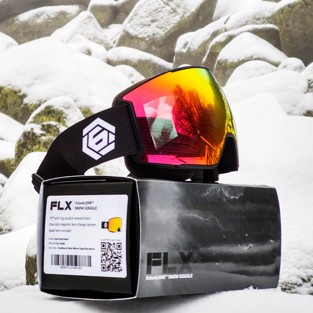 FLX comes in a nice eco-frendly box with 2 magnetic lenses, so you can shred with style and clear vision no matter the weather.