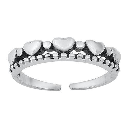 Silver Toe Ring - Hearts