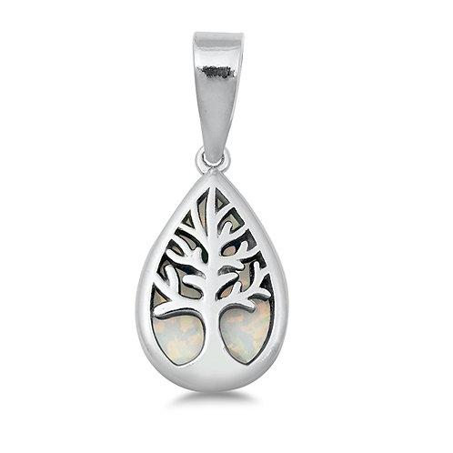 Silver Pendant W/ Lab Opal - Tree of Life