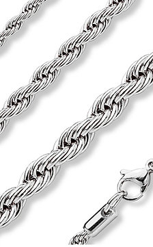 Rope Chain Necklace Stainless Steel 18""