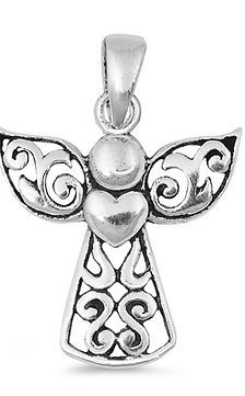 Silver Pendant - Angel w/ Heart