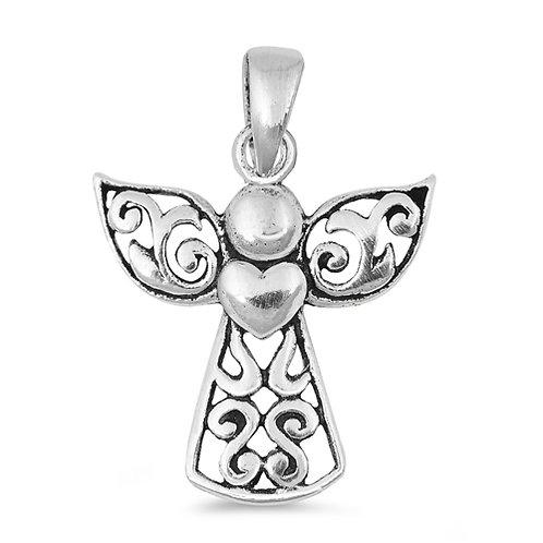 Silver Pendant - Angel w/ Heart
