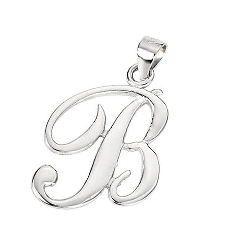 Silver Pendant -Script Initial B