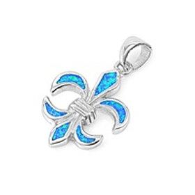 Silver Pendant W/ Lab Opal - Fleur De Lise