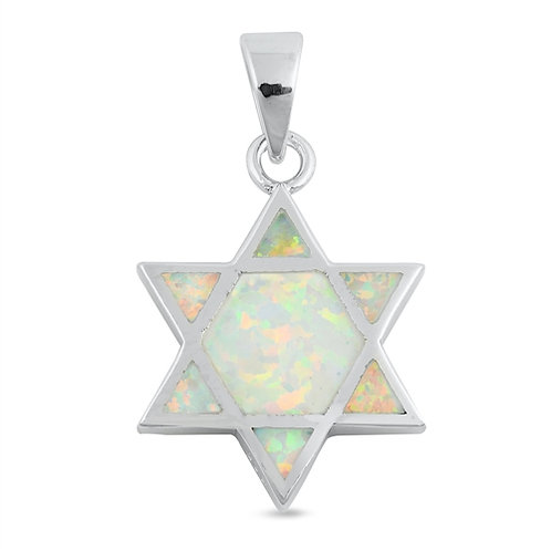 Silver Pendant - Star of David with Opal