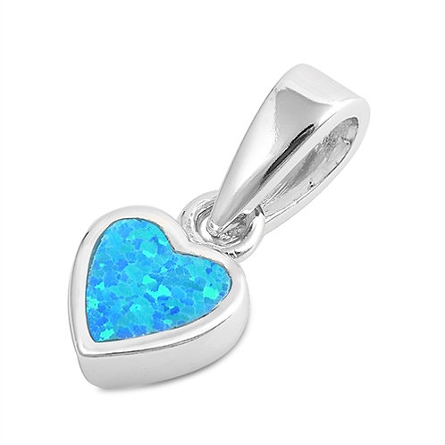 Silver Pendant W/ Lab Opal - Heart