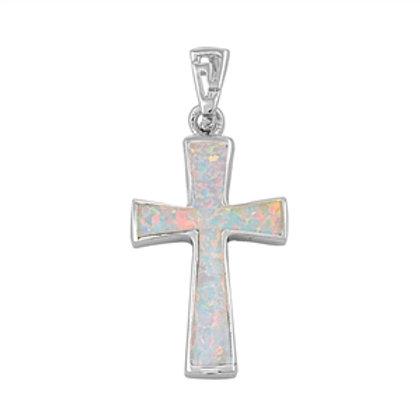 Silver Pendant W/ Lab White Opal - Cross