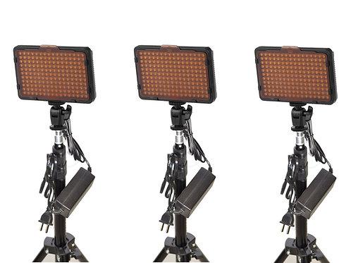 WAFFLET - Triple 176 Bulb LED Studio Light Kit
