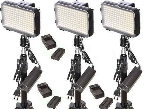 XT160TB - Three Piece 160 Bulb LED Light & Battery Studio Kit