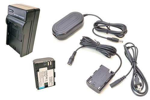 DRE6PRO - LPE6 Style Canon Battery, Charger, Coupler & AC Adapter Kit