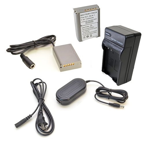 BLN1PRO - BLN1 Style Olympus Battery, Charger, Coupler, AC Adapter Kit