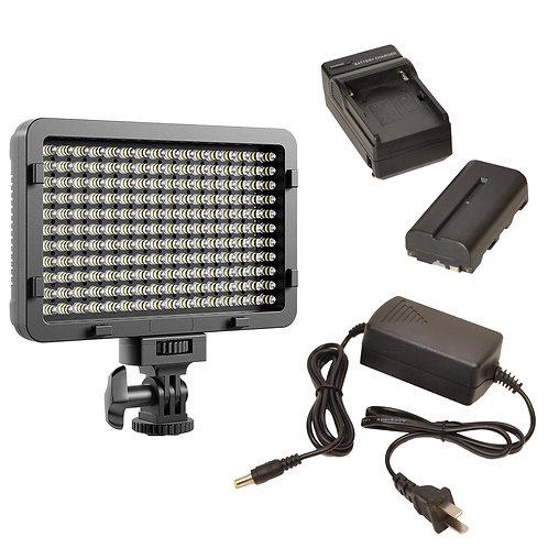 WAFFLEAB - 176 Bulb on Camera LED Light, Battery, Charger & AC Adapter Kit