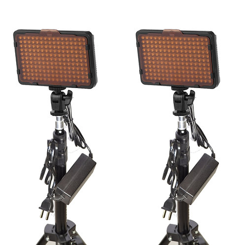 WAFFLEK - Double 176 Bulb LED Studio Light Kit