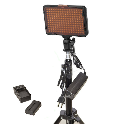 WAFFLEKB - Double 176 Bulb LED Studio Light & Battery Kit