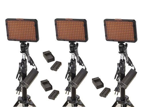 WAFFLETB - Triple 176 Bulb LED Studio Light & Battery Kit