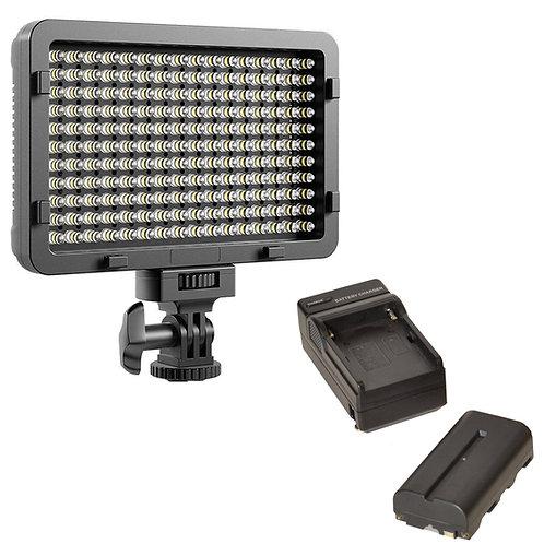 WAFFLEB - 176 Bulb on Camera LED Light & Battery Kit