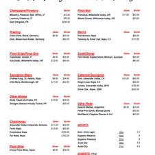 Wine List - Wine