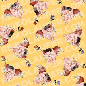 """""""Hokusai Angel"""" Fabric Pattern"""