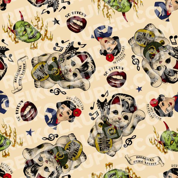 """Rockabilly Lucky Cat"" Fabric Pattern"