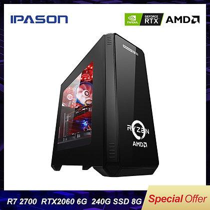 IPASON Gaming Desktop Computer P88 AMD 8-Core R7 2700/Rtx2060 6g/8g DDR4/240G
