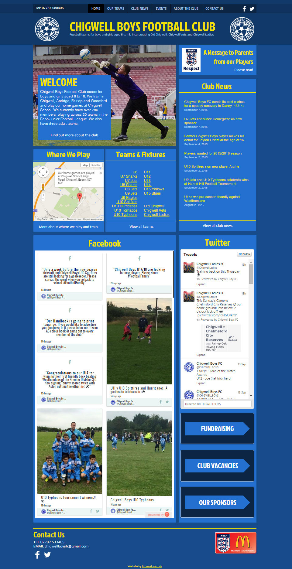 Chigwell Boys FC website home page