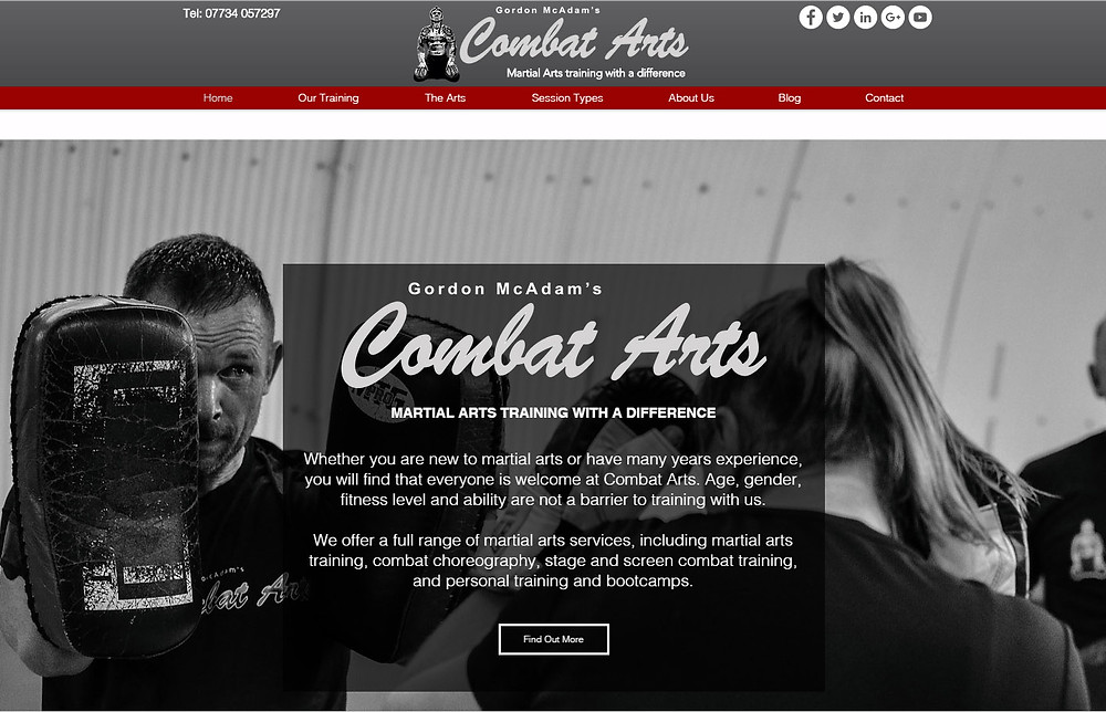 Combat Arts website by Liz Hawkins Ltd using Wix
